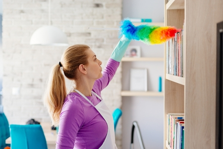 Young beautiful woman in white apron dusting books. Cleaning service. Maid cleaning at home Stock Photo