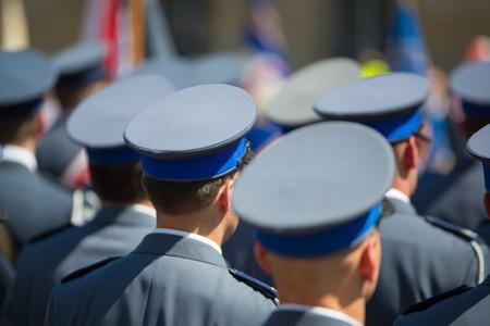 Polish police in gala uniforms on parade Stock Photo