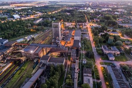 Aerial drone view black coal mine at dusk. Sosnica, Gliwice, Silesia, Poland