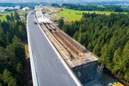 Aerial drone view on viaduct under construction. Construction of the viaduct on the national road number 7 in Poland Archivio Fotografico