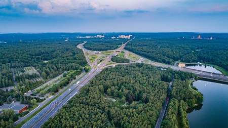 Aerial drone view on highway junction in Katowice. Silesia, Poland