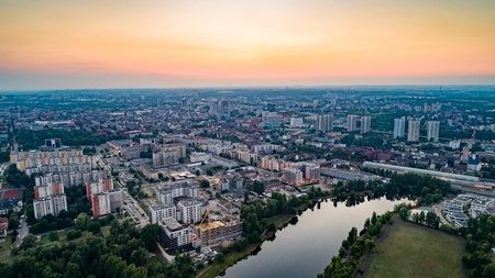 Aerial drone view on Katowice at evening. Silesia, Poland