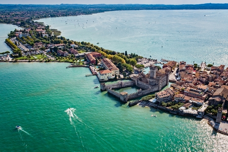 Aerial view on Sirmione sul Garda. Italy, Lombardy