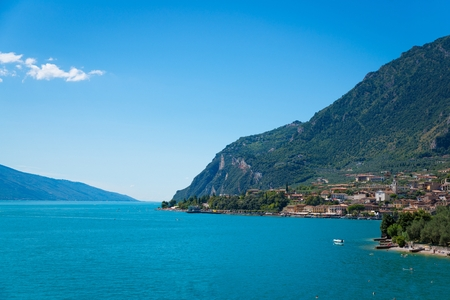 Beauty summer view on Limone sul Garda and Garda Lake and mountains, Lombardy, Italy Stock Photo