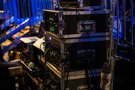 Music audio amplifiers and dj mixing console on concert