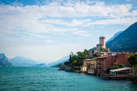 Malcesine town on the eastern shore of Lake Garda in the Province of Verona