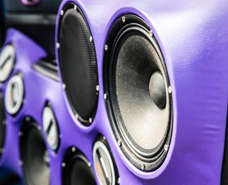 Car loudspeakers in the car door. Car audio Stock Photo