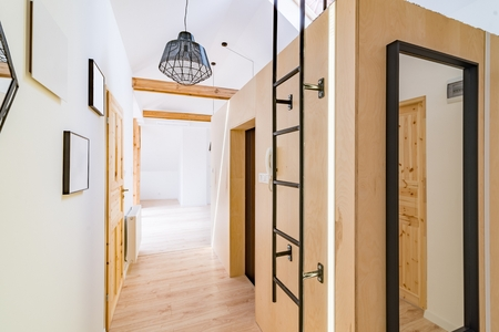 Apartment hall with wooden doors. Modern bright flat apartment in the attic