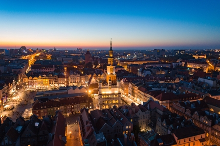 Aerial view on Poznan main square and old city at evening. Poznan, Wielkopolska, Poland Stock fotó