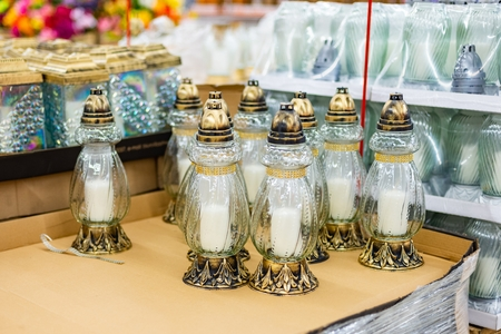Traditional candle snitches for Alls Saint Day on the supermarket display stand Zdjęcie Seryjne