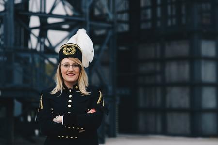 Woman black coal miner foreman in gala parade uniform, Silesia, Poland Zdjęcie Seryjne