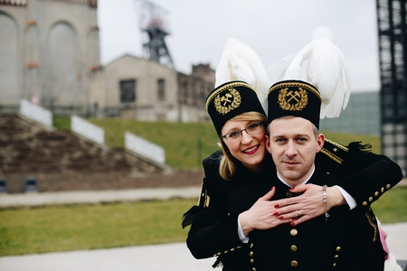 Black coal miners family in gala parade uniforms, Silesia, Poland Zdjęcie Seryjne