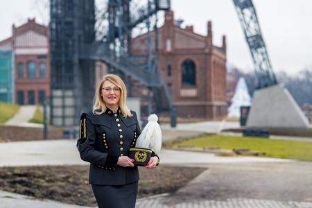 Woman black coal miner foreman in gala parade uniform, Silesia, Poland Stock Photo