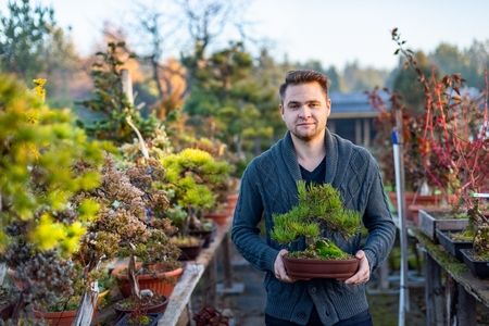 Young man bonsai artist in his bonsai farm. Small business concept