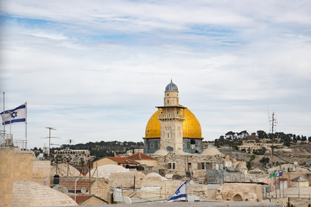 Mosque and Dome Rock in Jerusalem old city.