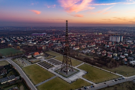 Wooden radio tower in Gliwice, Silesia, Poland. The tower is the tallest wooden structure in Europe