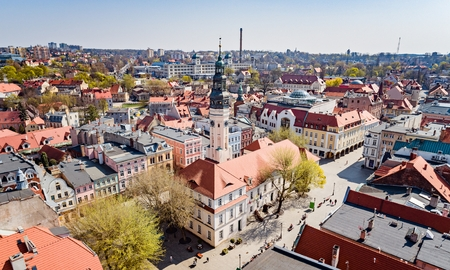 Aerial drone view on town hall and city main square Zielona Gora. Zielona Gora is the largest city in Lubusz Voivodeship in western Poland