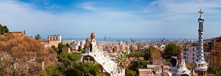 Barcelona view from park Guell. Barcelona, Catalonia, Spain 免版税图像