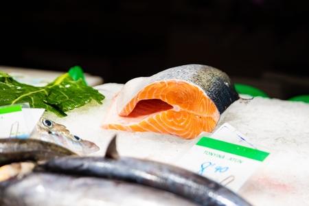 Raw fresh seafood tuna fish on display in fish market