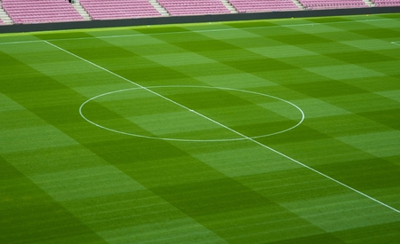 Green football playing field. Football stadium