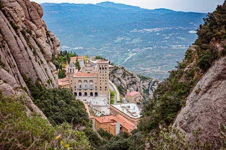 Montserrat monastery in Spanish mountains. Montserrat, Catalonia, Spain