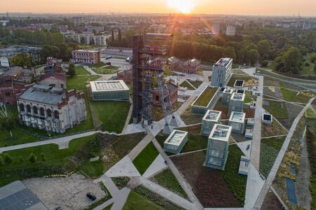 Aerial drone view of katowice at sunrise and Silesian museum buildings. Katowice, Silesia, poland