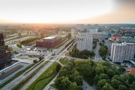Drone view of Katowice at sunrise. Katowice is the largest city and capital of Silesia