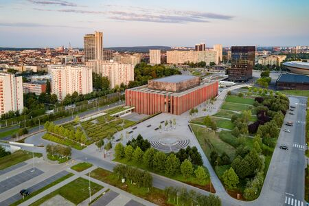 Drone view of Katowice at sunrise. Katowice is the largest city and capital of Silesia voivodeship