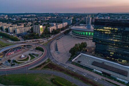 Drone aerial view on Katowice - capital of Polish Silesia voivodeship. Zdjęcie Seryjne