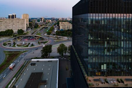 Aerial drone view on Katowice at early morning. Katowice in capital and the largest city of Silesia voivodeship. Zdjęcie Seryjne