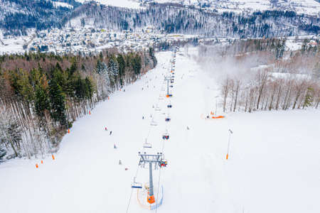 Drone view on ski slope in Polish Beskid mountains.