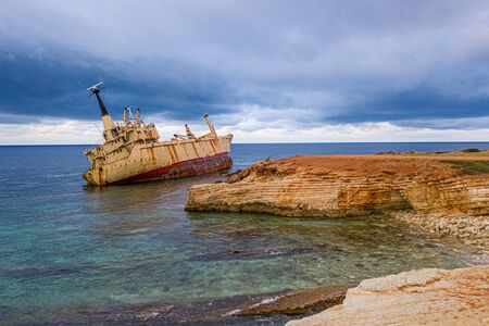Aerial drone view ship wreck on the beach. Pegeia near Paphos on Cyprus Stock Photo