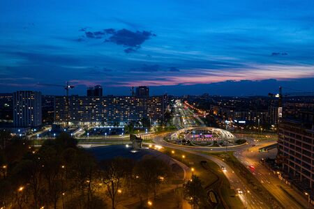 Aerial drone view on Katowice centre and roundabout