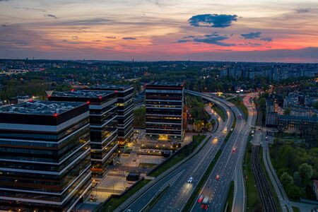 Drone aerial view on office buildings in Katowice.
