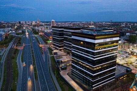 Drone aerial view on office buildings in Katowice. Zdjęcie Seryjne