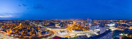 Panoramic drone aerial view on Katowice center at night