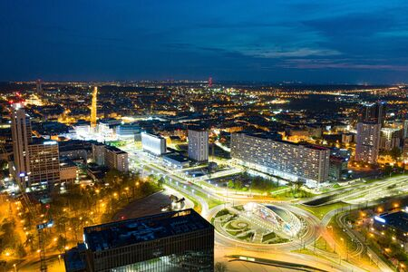 Drone aerial view on Katowice center at night
