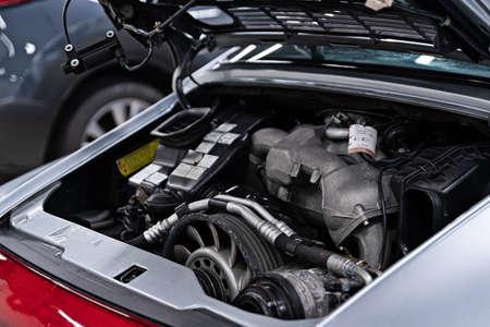 Vintage sport car engine. Engine in sport car