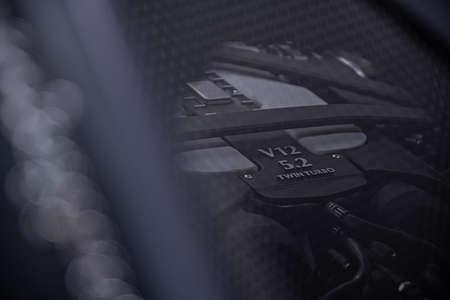 Sports car v12 turbo charged engine.