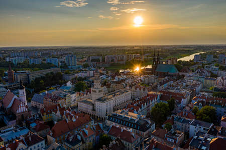 Opole aerial view. Opole city and old town with main square.