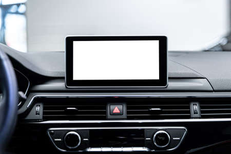 Car navigation and multimedia screen with copy space.