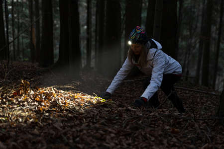 Beauty tourist woman with headlight in the forest Imagens