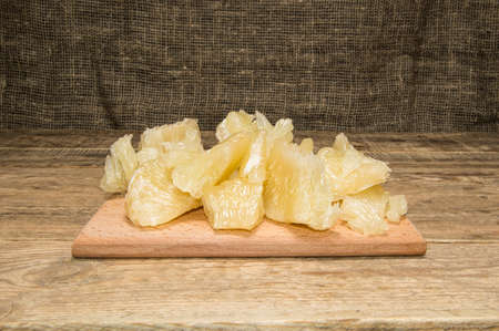 halves of pomelo on sacking Stock Photo
