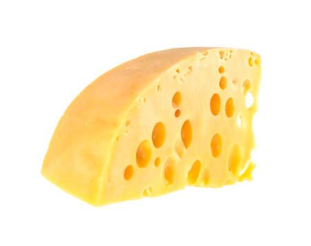cheese maasdam on white background