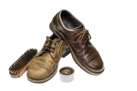 Mens shoes and accessories for the care of footwear on a white background