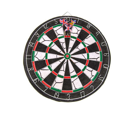 darts three darts in bulls eye Archivio Fotografico