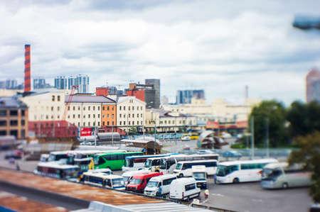 bus station, blurred background tilt shift