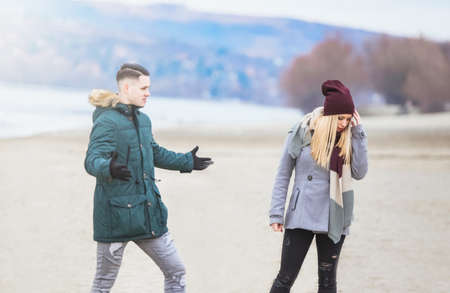 unfaithful: Young couple having relationship difficulties Stock Photo