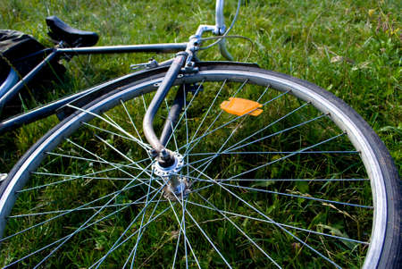 technics: bicycle  lie on the grass