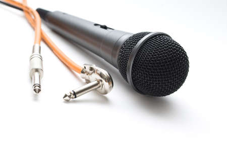 audio microphone close up isolated on white background. photo
